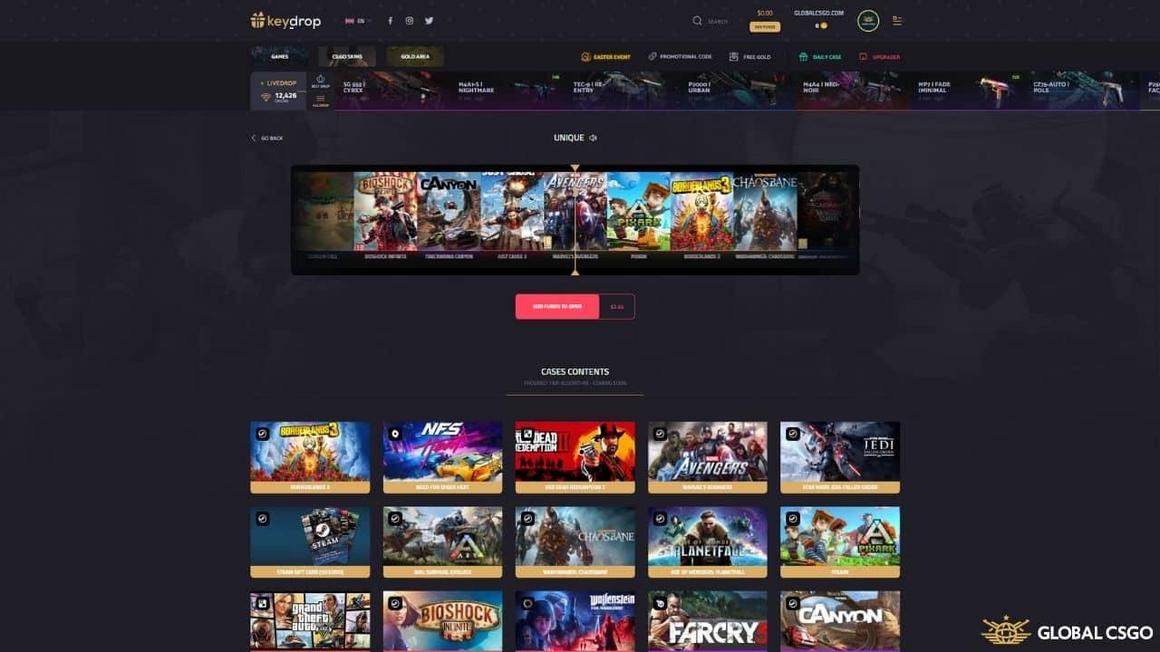 keydrop game case opening