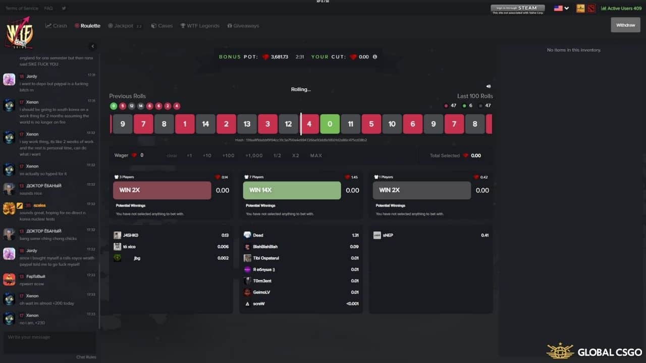 wtfskins roulette game