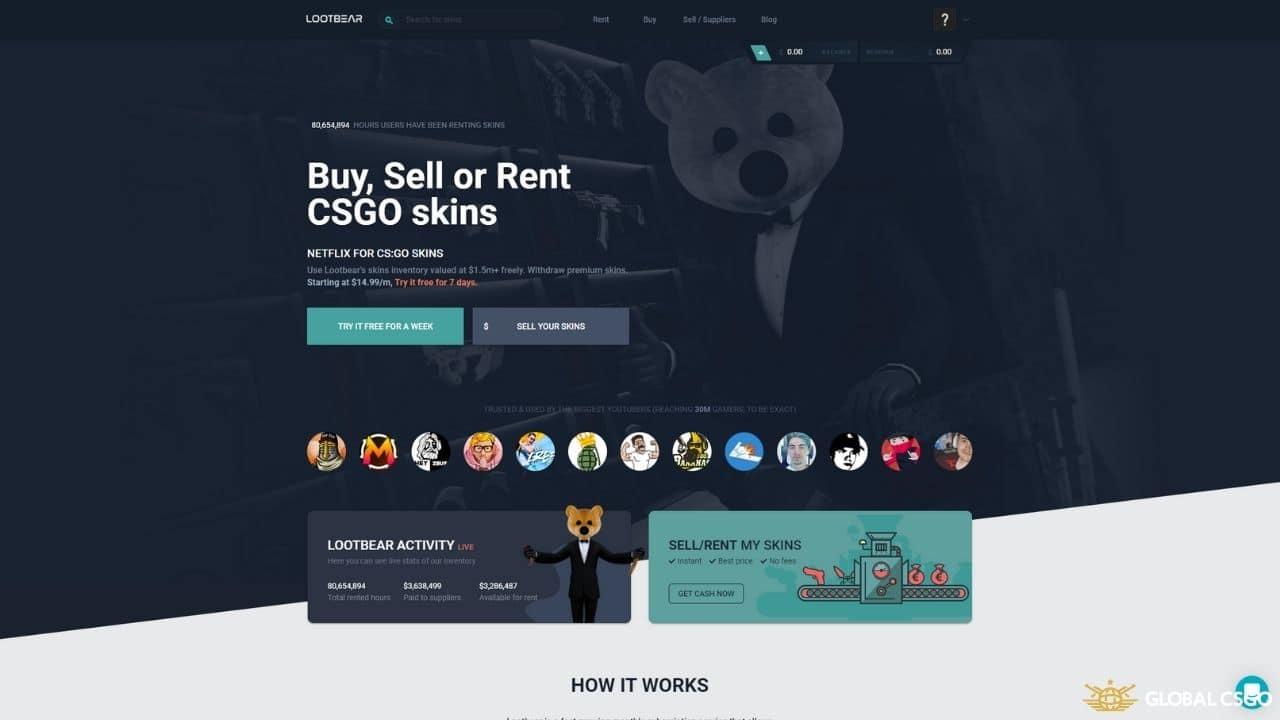 lootbear csgo skins renting service
