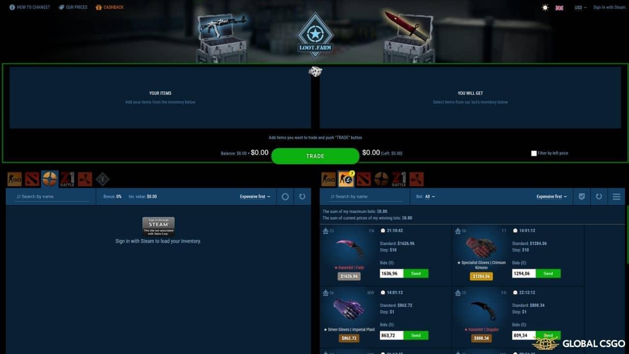 lootfarm csgo skin trading website