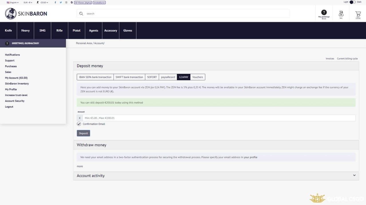 skinbaron payment methods