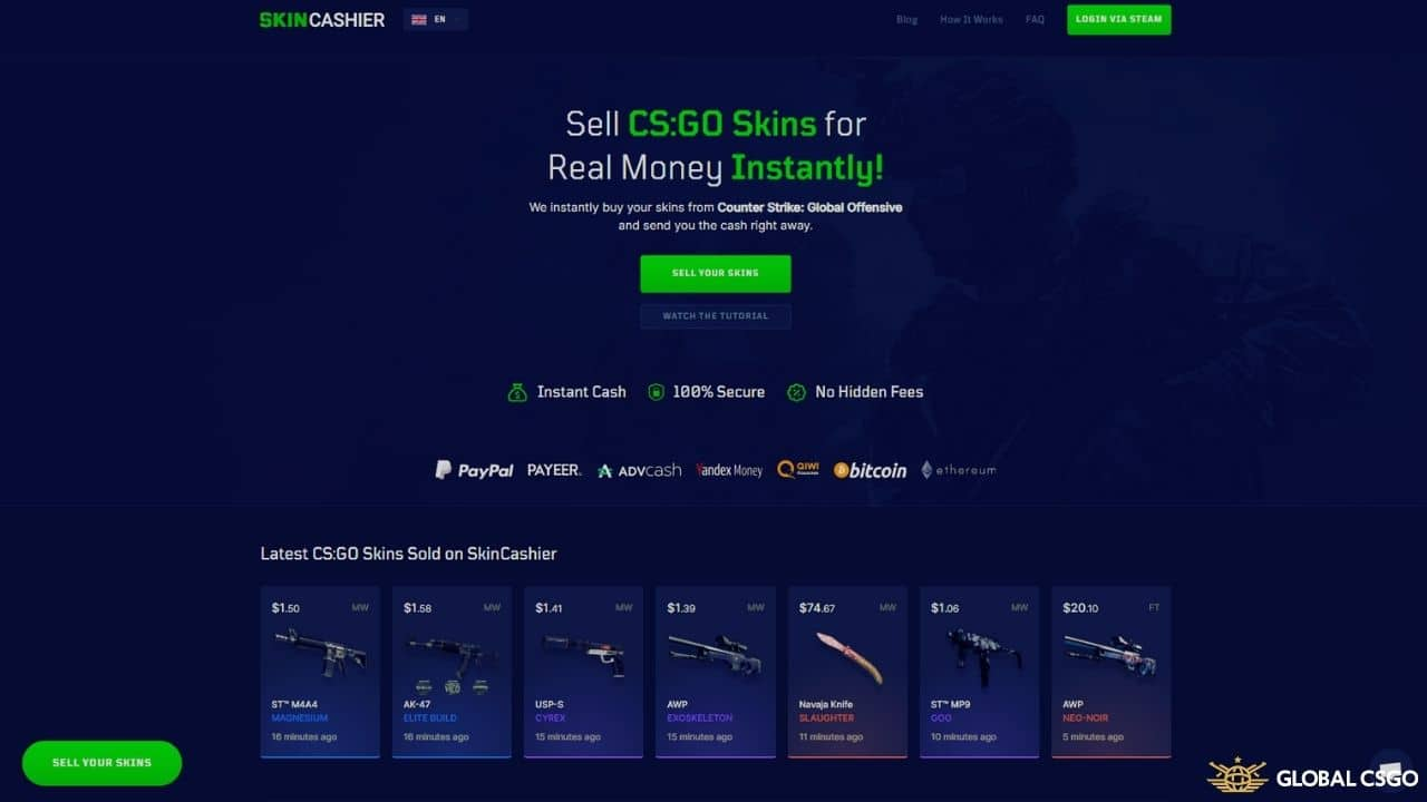 skincashier sell csgo skins website