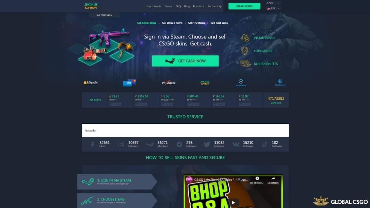 skinscash csgo skins cashout site