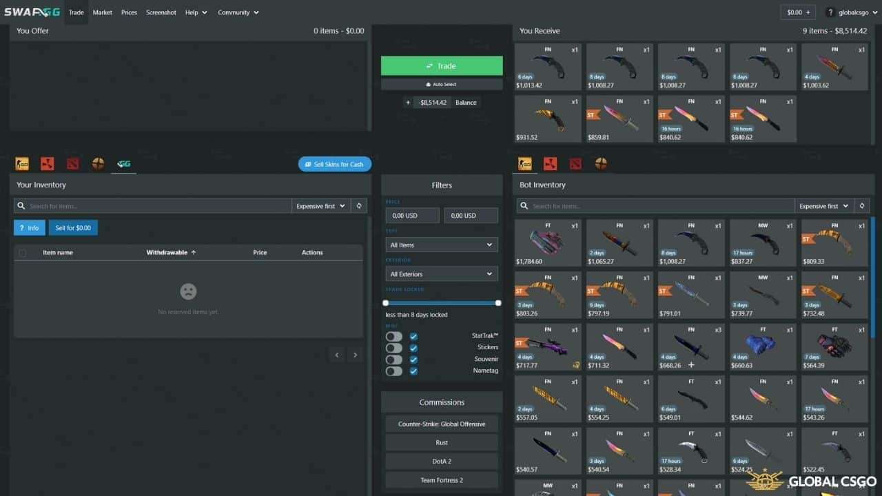 swapgg trading bot csgo skins