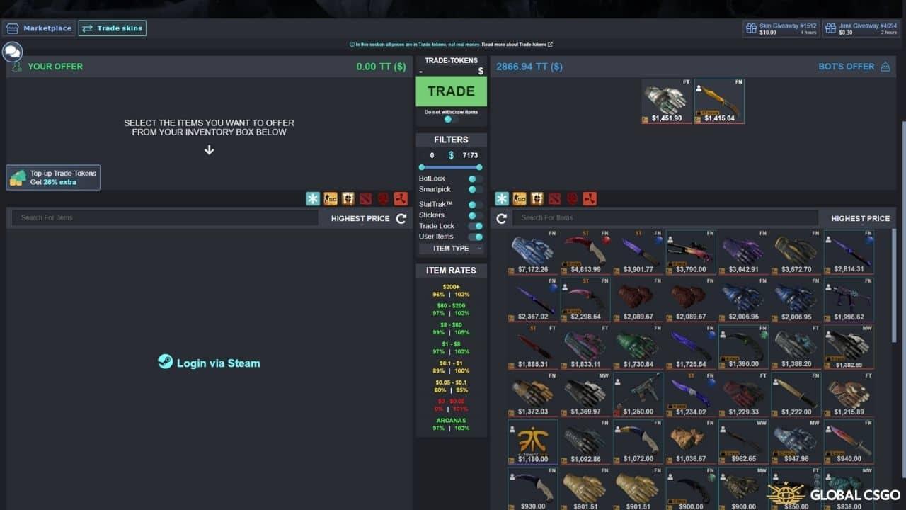 how to trade csgoskins using csdeals